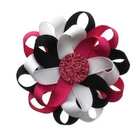Flower Loop Hair Bow - Black/Fuchsia/White