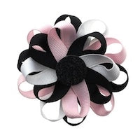 Flower Loop Hair Bow - Black/Pink/White