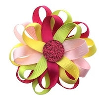 Flower Loop Hair Bow - Pink/Fuchsia/Lime/Yellow