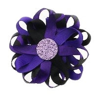 Flower Loop Hair Bow - Zebra/Purple