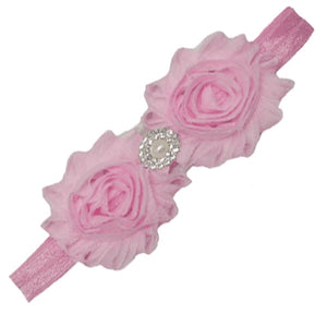 Shabby Rose with Rhinestone Headband