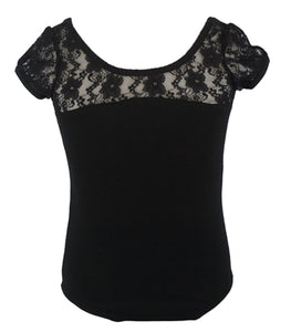 Bow Back Lace Leotard - Black