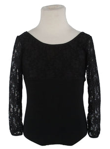 3/4 Sleeve Lace Leotard - Black
