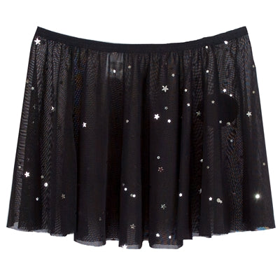 Star Mesh Pull Up Skirt - Black