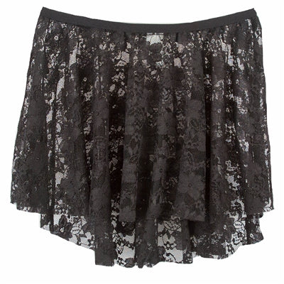 Lace High Low Skirt - Black