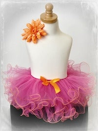 Two Tone Curly Tutu - Fuchsia/Orange