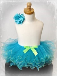 Two Tone Curly Tutu - Turquoise/Lime