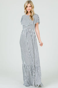 Striped Ruffle Maxi Dress - Mayebelle Boutique