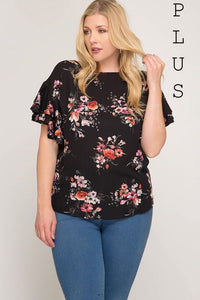 Double Ruffle Floral Plus Top - Mayebelle Boutique
