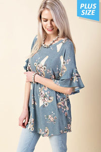 Enchanting Floral Plus Tunic - Mayebelle Boutique