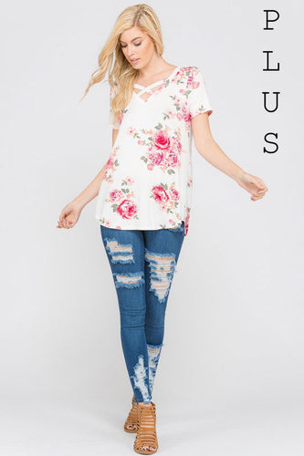 Crisscross Ease Plus Top - Mayebelle Boutique