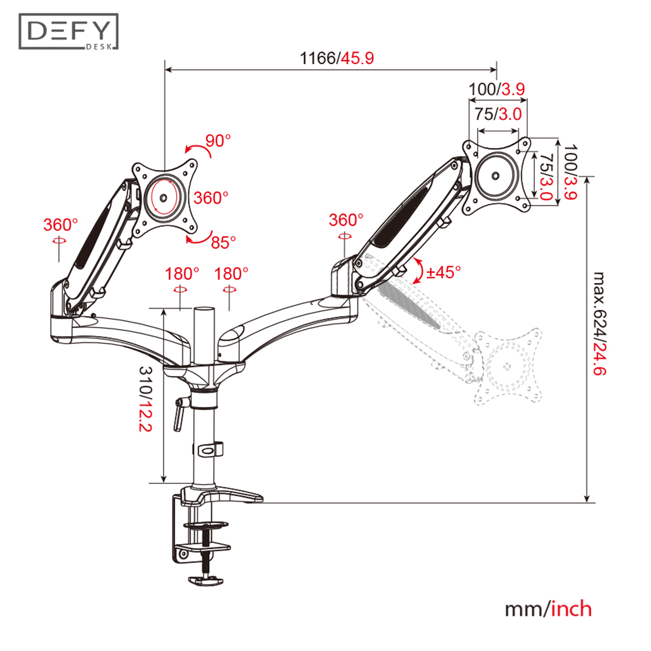 Dual Monitor Mount Arm Stand Height Adjustable Full Motion Standing Schema Pinterest Circuit Diagram On 3 Led Chaser