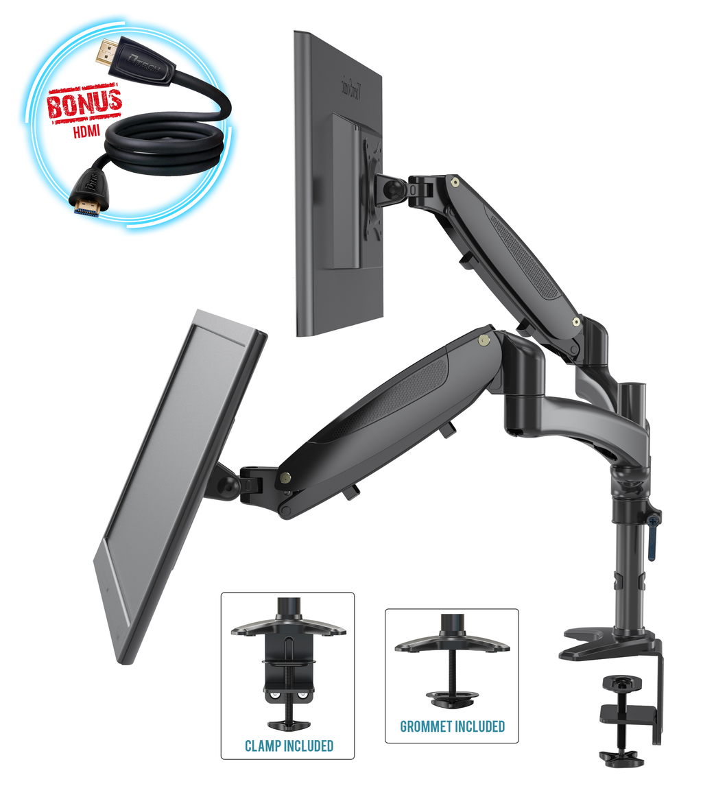Dual Monitor Height Adjustable Mount Arm Stand