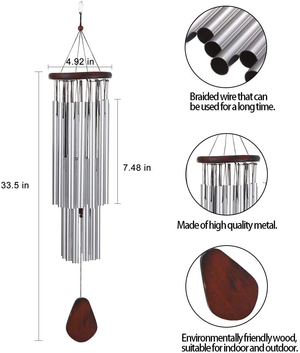 27 Tubes Handmade Large Wind Chimes for Outside, Tuned Hummingbird Wind Chime, Soothing Melodic deep Tones, Outdoor Decor, Rustproof Aluminum Memorial Wind Chimes