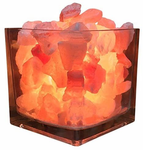 Himalayan CrystalLitez Himalayan Salt Lamp With Dimmer Cord, Original Salt Crystals In A Glass Bowl, Aromatherapy Salt Lamp (Square)