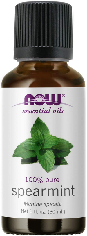 NOW Essential Oils, Spearmint Oil, Stimulating Aromatherapy Scent, Steam Distilled, 100% Pure, Vegan, Child Resistant Cap, 1-Ounce