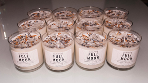 Full Moon Herbal Intention Candles | Scented Intention Candle | Intention Candle with Crystals