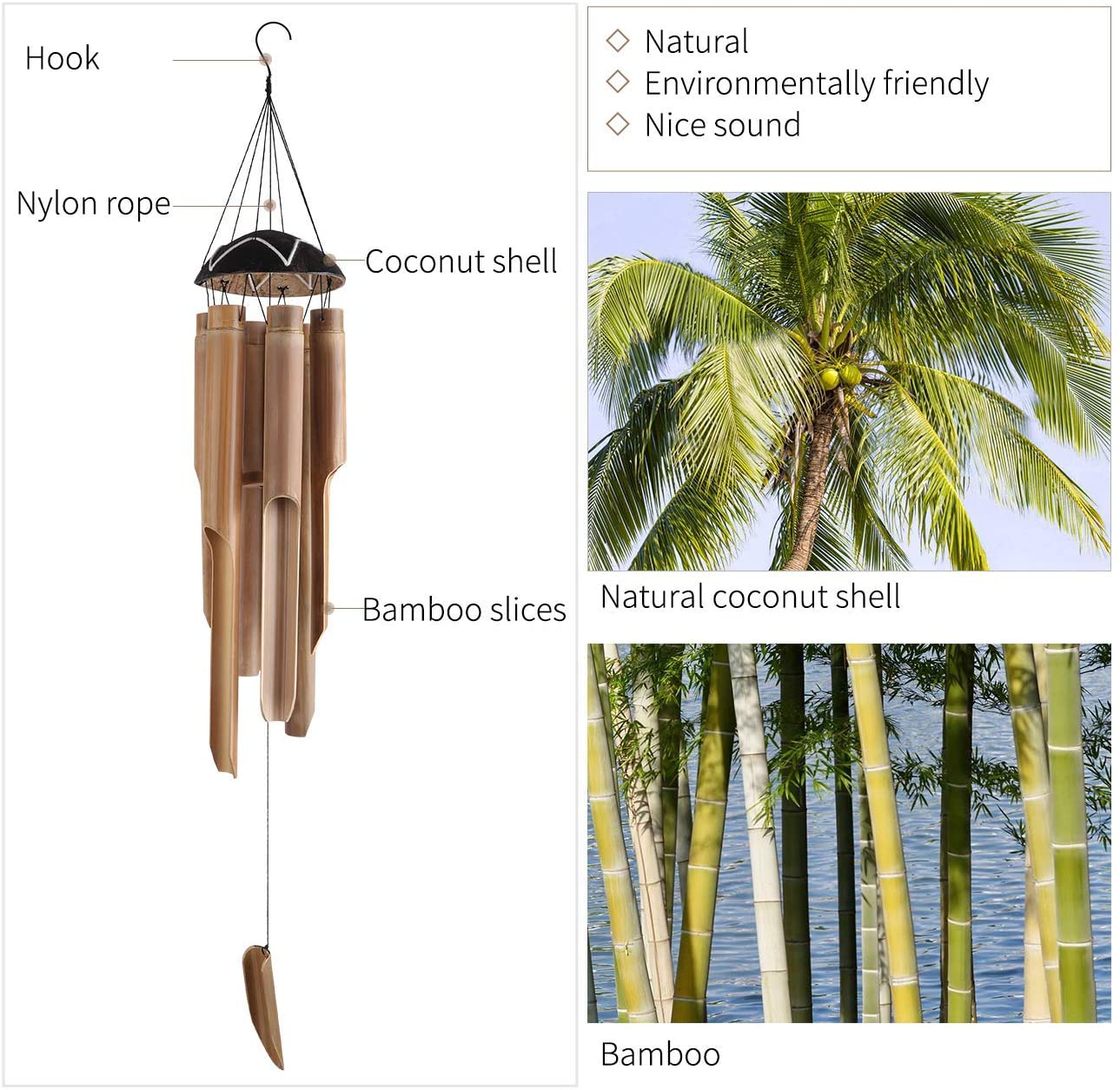 GeeToo Handmade Bamboo Wind Chimes Outdoors & Indoors, Large Coconut Top, 6 Bamboo Tubes, Deep Tune, Wooden Windchimes Home Decor for Patio Lawn Garden, 33 inch