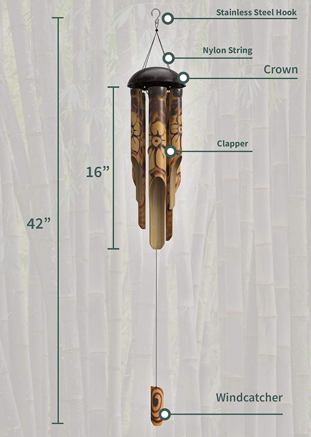 "Nalulu Rustic Bamboo Wind Chime - Outdoor Wood Wooden Floral Burned Design with Coconut Crown, 42"" Large & Relaxation Ready"