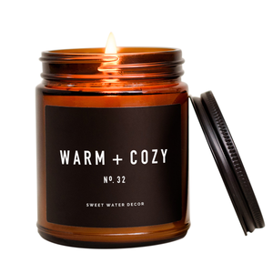 Warm and Cozy Candle | Amber Jar Candle | Christmas Candle | Holiday Candle | Winter Scented Candle | Campfire Candle | Essential Oil Candle