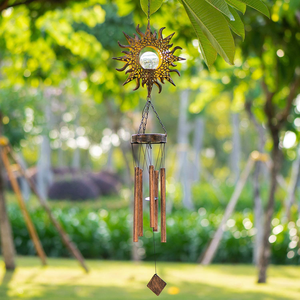 LeiDrail Solar Wind Chimes for Outside Sun Crackle Glass Ball Warm LED Garden Solar Light Waterproof Memorial Wind Chime Outdoor Sympathy Decor with Metal Tubes for Yard Porch Lawn