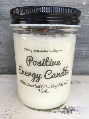Positive Energy Candle - Crystal Candle - Aromatherapy Candle - Good Vibes