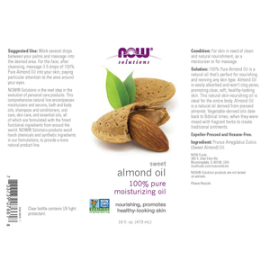 NOW Solutions, Sweet Almond Oil, 100% Pure Moisturizing Oil, Promotes Healthy-Looking Skin, Unscented Oil, 16-Ounce