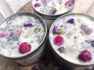 Anxiety Candle Lavender Candle Soy Candle Witchy Candle Anxiety Relief Candle Stress Candle Crystal Candle Flower Candle Aesthetic Earth Co