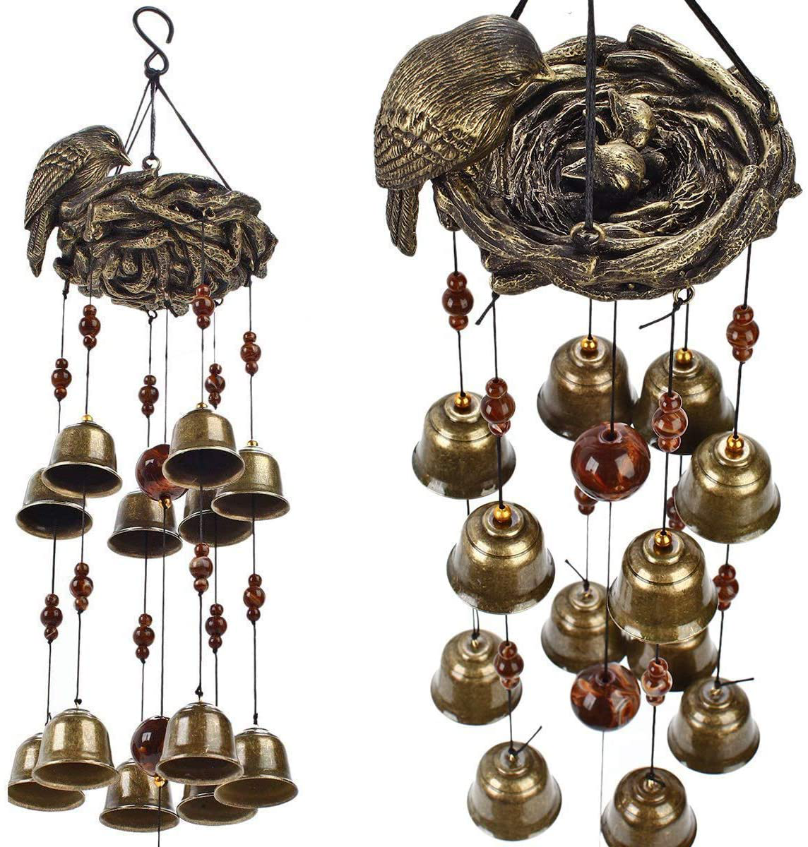 Gardenvy Bird Nest Wind Chime, Bird Bells Chimes with 12 Wind Bells for Glory Mother's Love Gift, Garden Backyard Church Hanging Decor, Bronze