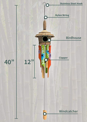 "Nalulu House Bamboo Wind Chime - Outdoor Wood Wooden Painted Design with Birdhouse Crown, 40"" & Relaxation Ready"
