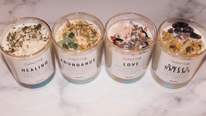 Herbal Intention Candles | Scented Intention Candle | Intention Candle with Crystals