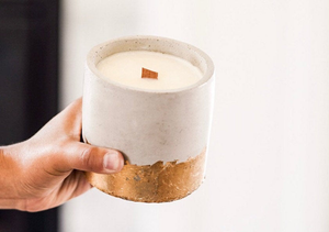 "FREE SHIPPING!  Large 4x4"" Handmade Concrete Candles - Round with Wooden Wick - 100% Soy Wax"