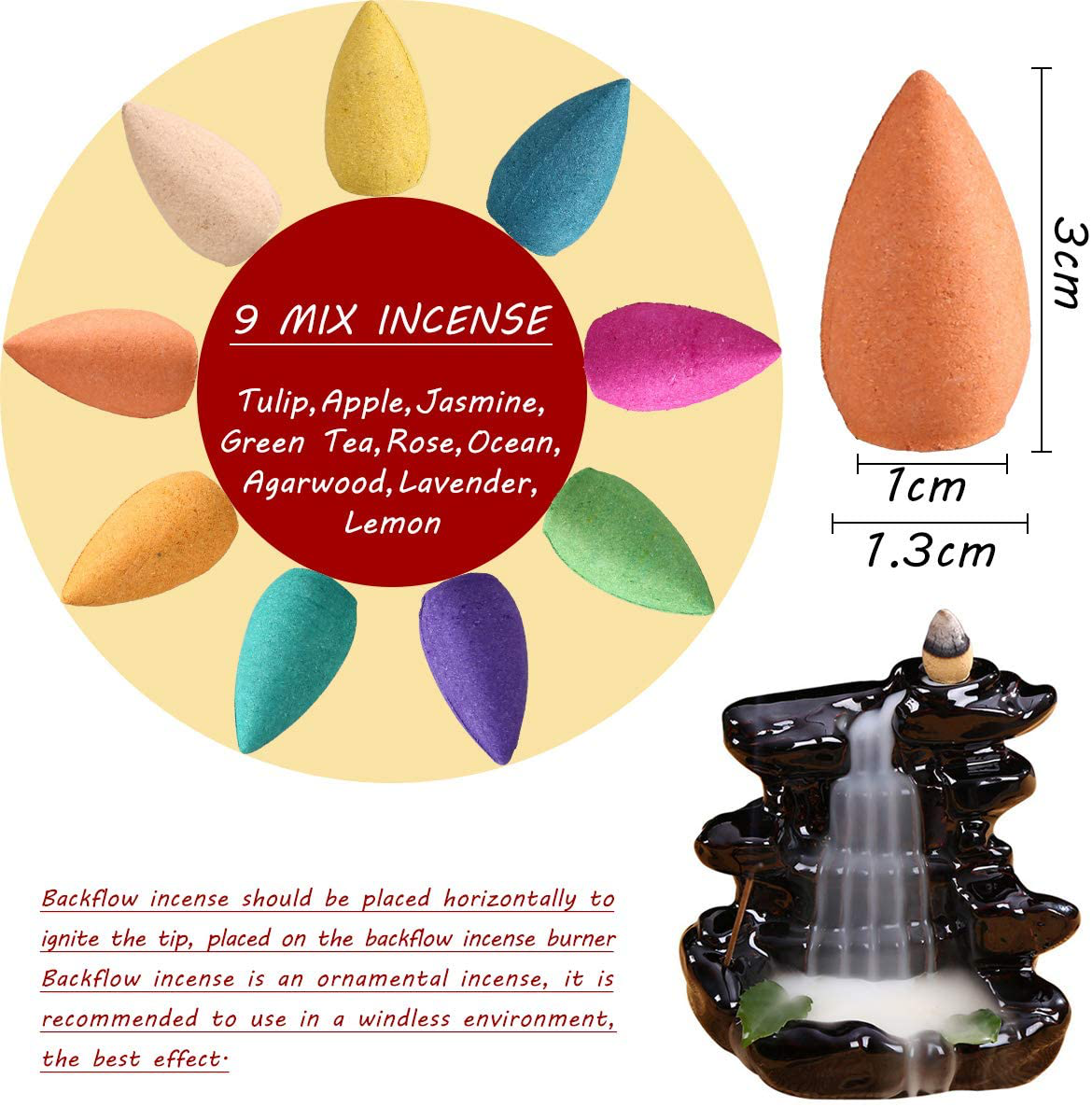 OTOFY Backflow Incense Cones 360 Pcs of 100% Natural Scents Waterfall Incense Rose Tulip Jasmine Lavender Rose for Backflow Incense Burner Holder Natural | Meditation & Yoga Gift