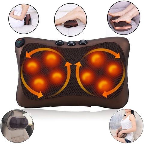 Massage Pillow Shiatsu Neck Back Shoulder Heat Kneading Massager Pillow