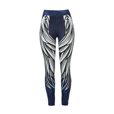 Women's Wings Printed Yoga Workout Leggings Fitness Sports Cropped Pants - Fitactivityshop