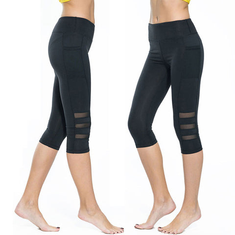 High Waist Elastic Women's Yoga Pants Workout Capri Leggings With Tight Side Pocket