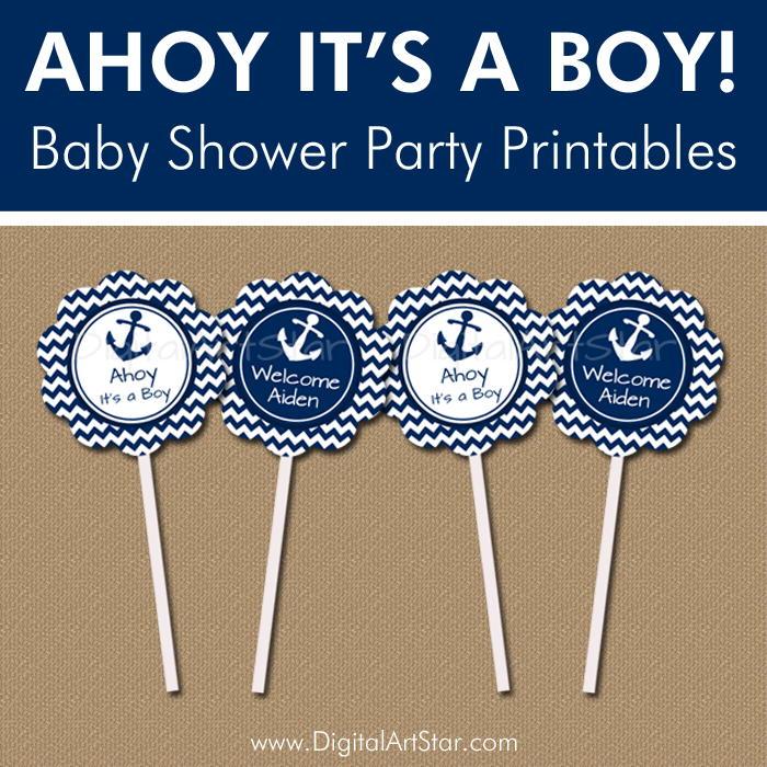 Ahoy It's a Boy Baby Shower Party Printables