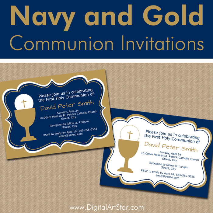 Navy Blue and Gold First Communion Invitation Ideas