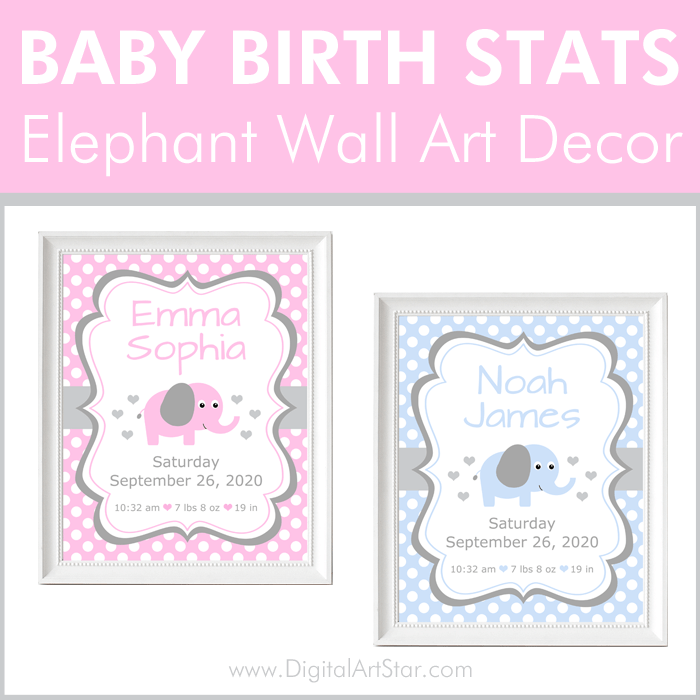 Baby Birth Stats Elephant Wall Decor for Nursery