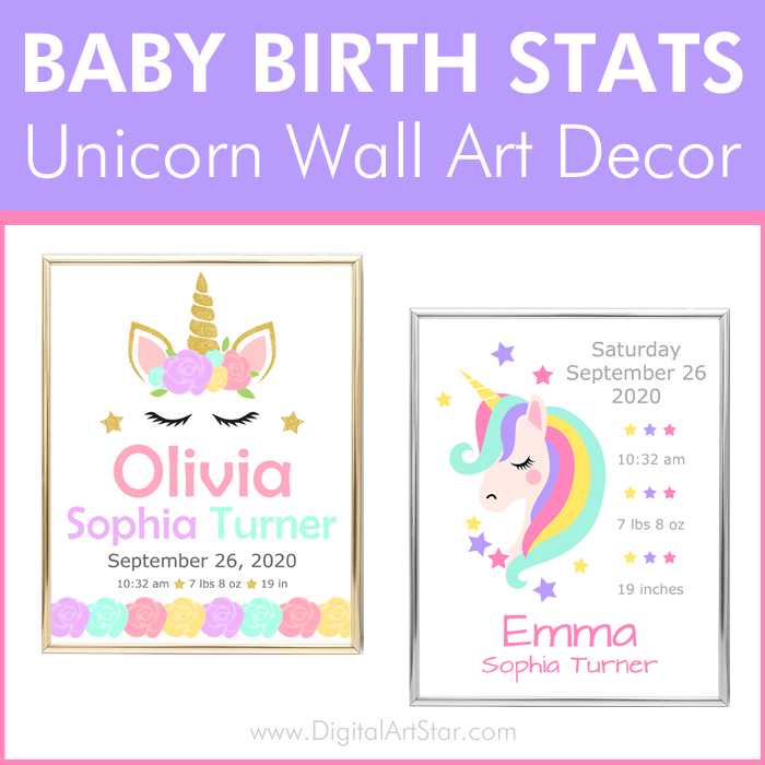 Baby Birth Stats Unicorn Wall Art Decor