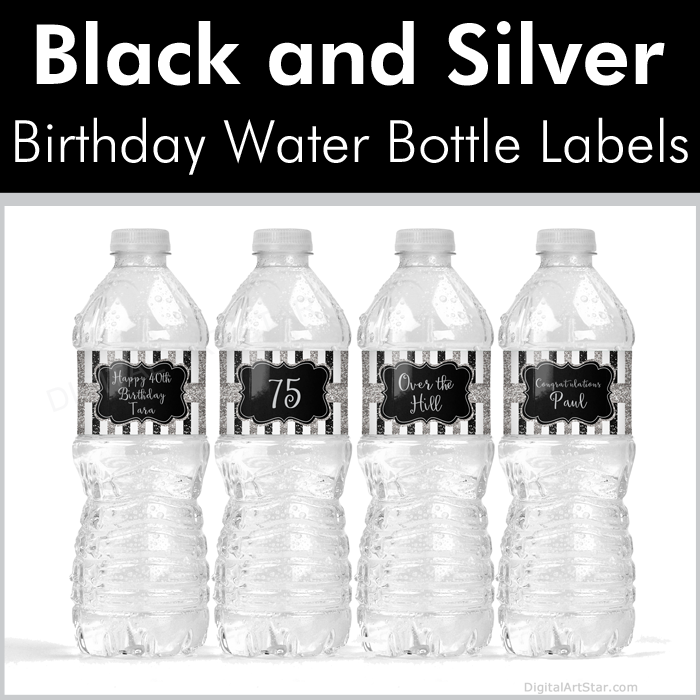 Black and Silver Birthday Water Bottle Labels