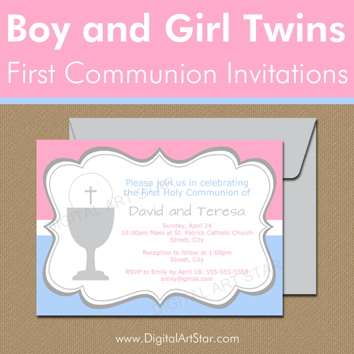 Printable First Communion Invitations for Boy Girl Twins