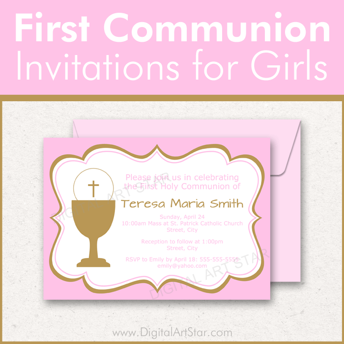 First Holy Communion Invitation Template Girl
