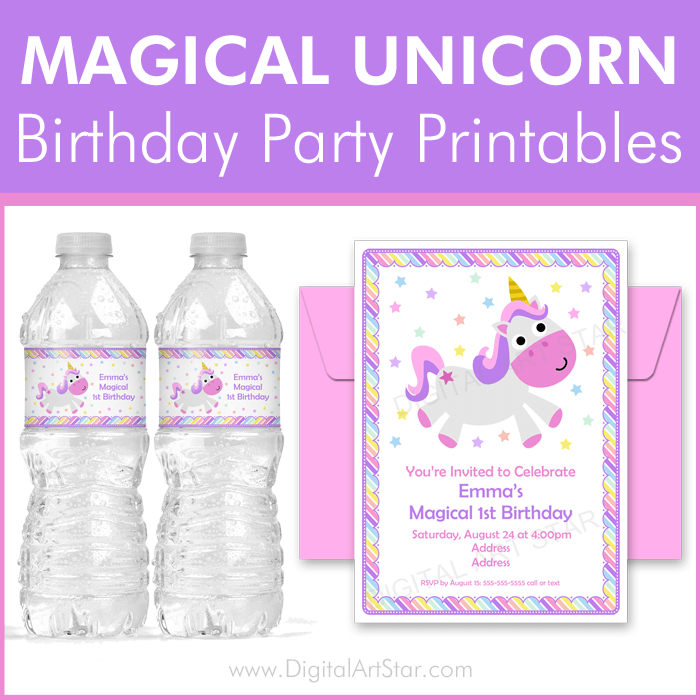 Magical Unicorn Birthday Party Printables by Digital Art Star
