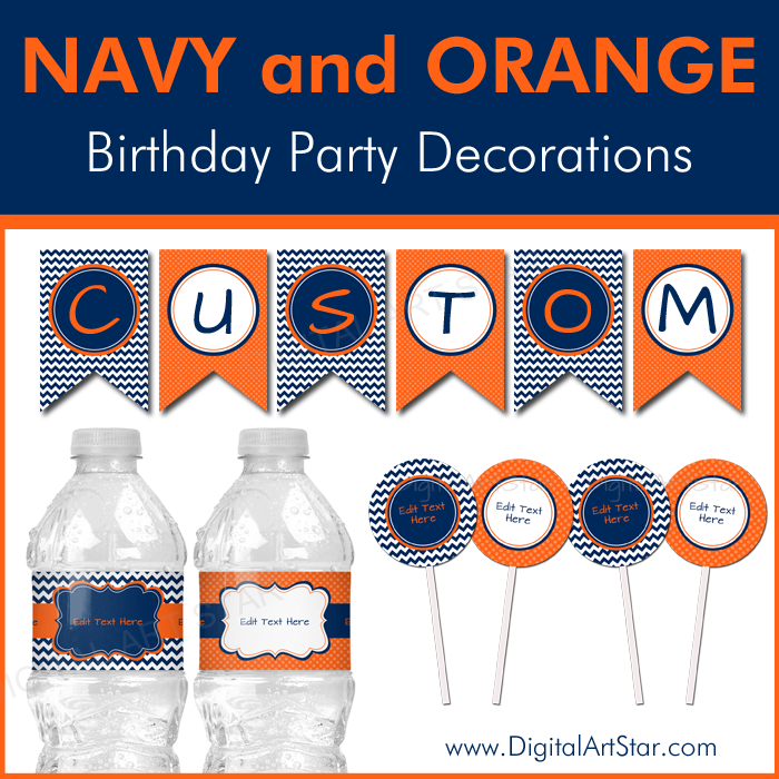 Navy and Orange Birthday Printable Party Decorations