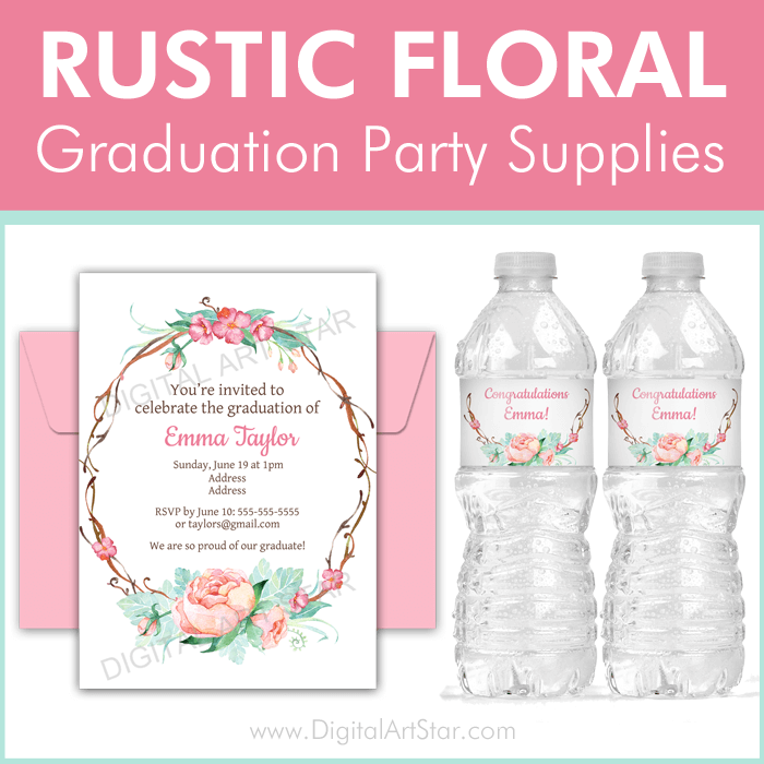 Rustic Floral Graduation Party Supplies
