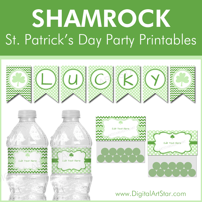 St Patrick's Day Shamrock Party Printables