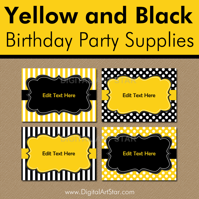 Yellow and Black 50th Birthday Decorations and Favors for