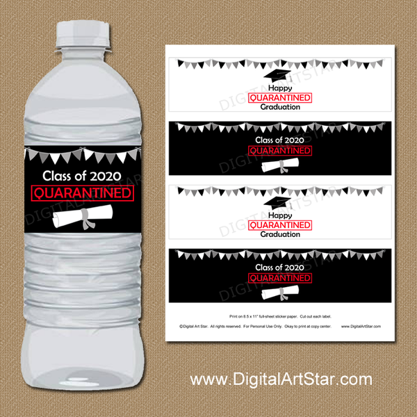 Printable 2020 Quarantine Graduation Water Bottle Labels