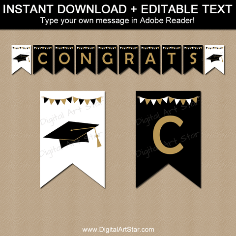 2021 Black and Gold Graduation Banner Party Decorations